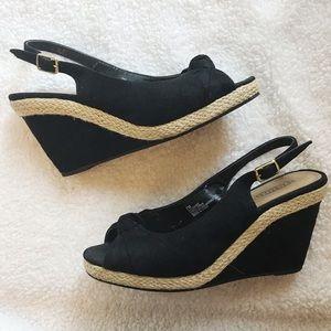 Seychelles Black Cork Wedge Peep Toe Sandal